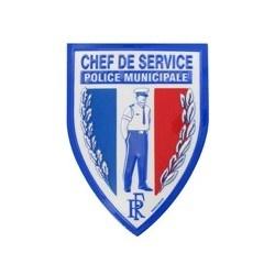 Ecusson Police Municipale Chef de service plastifié