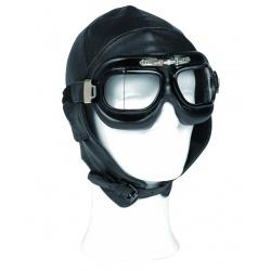 Bonnet pilote cuir noir