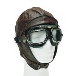 Bonnet pilote cuir marron